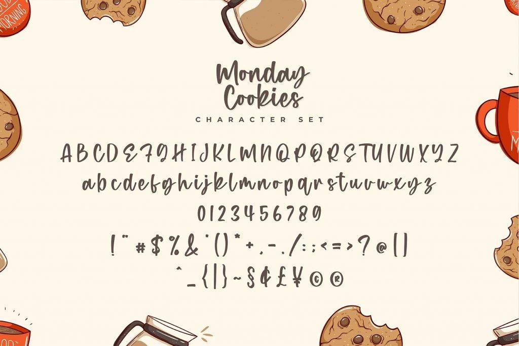 Monday Cookies - A Handwritten Script Font Character Set.