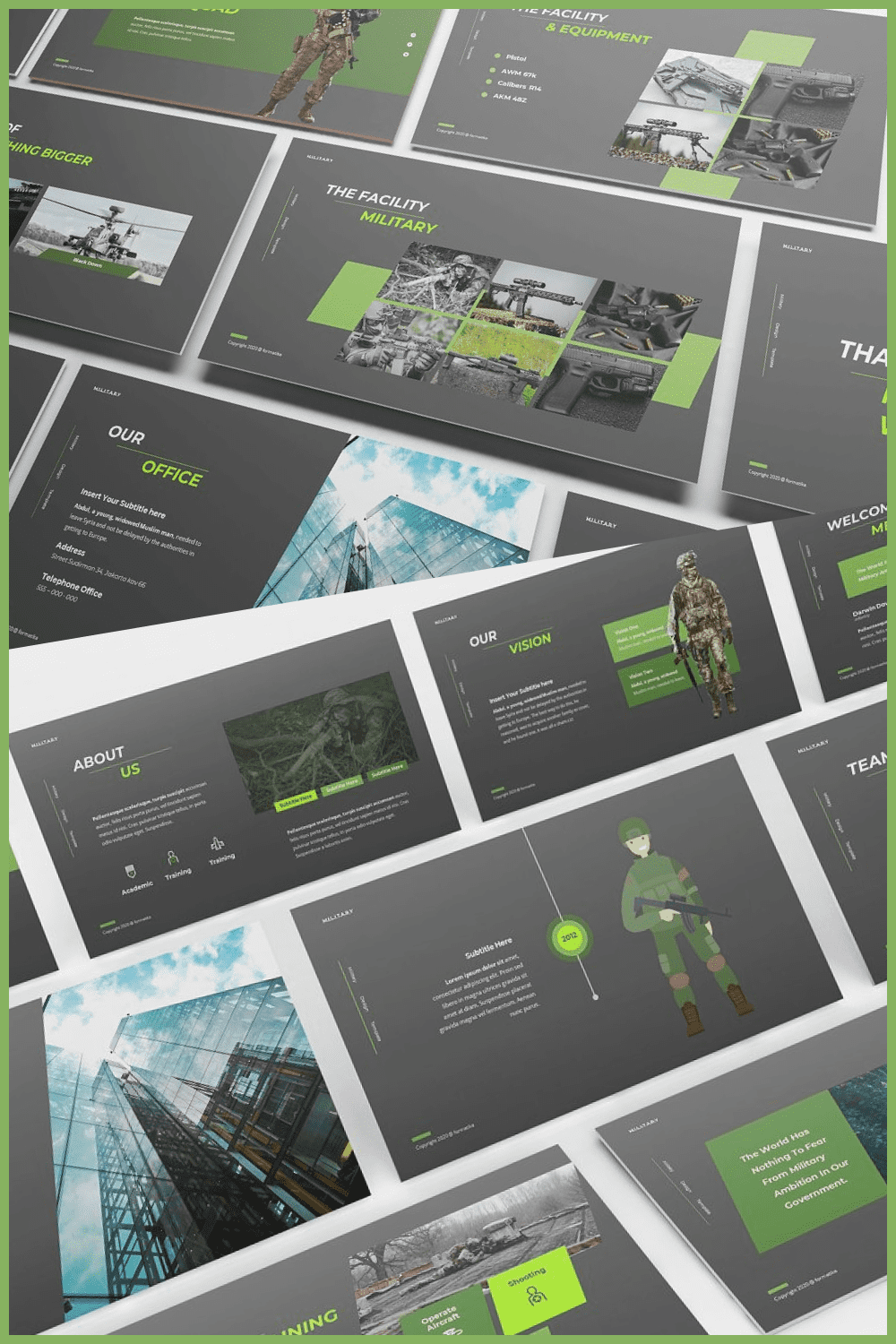The template has soft grays and shades of green.