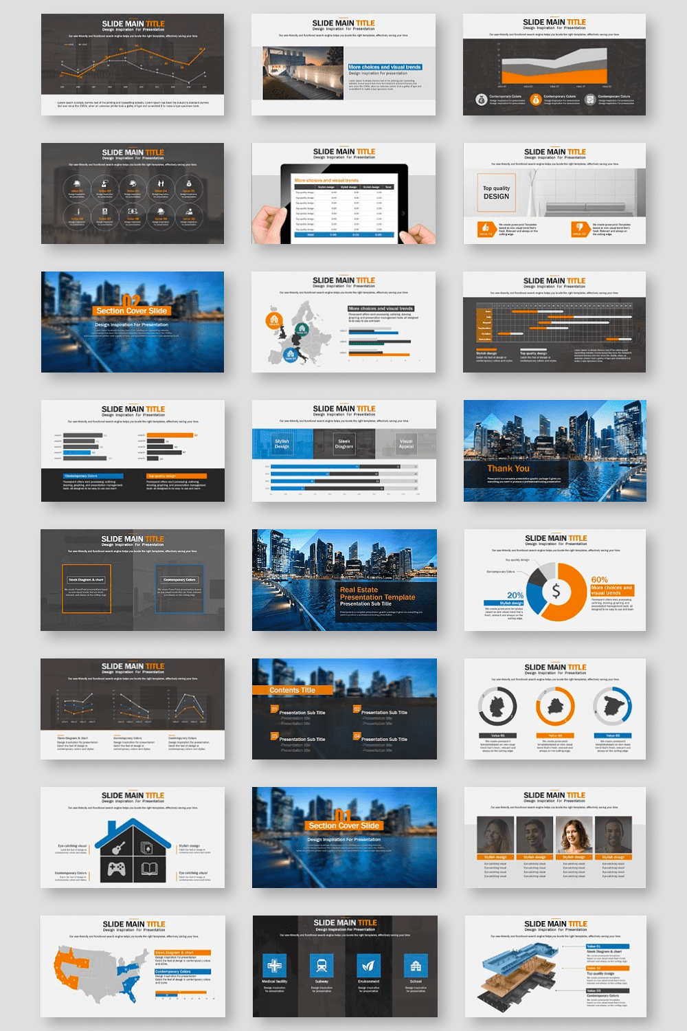The template has a lot of graphics, diagrams and infographics to simplify the delivery of information.