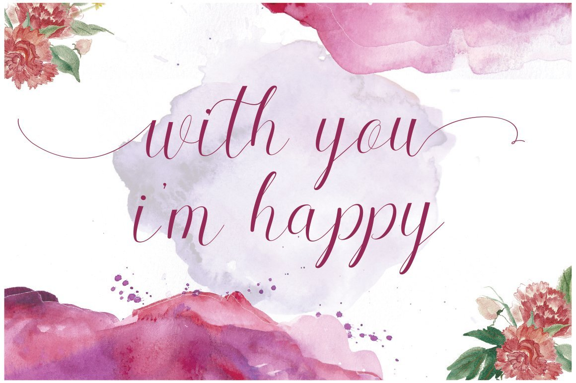 Romantic phrase on the watercolor background.