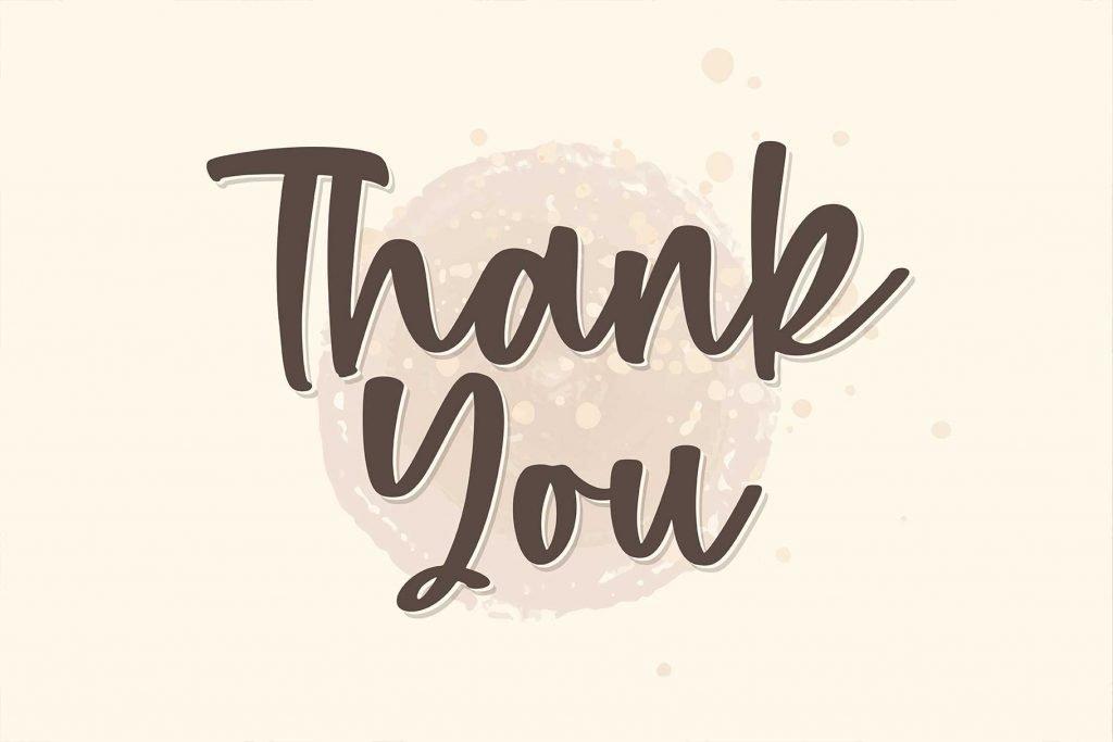 Thank you Phrase using a Monday Cookies - A Handwritten Script Font.