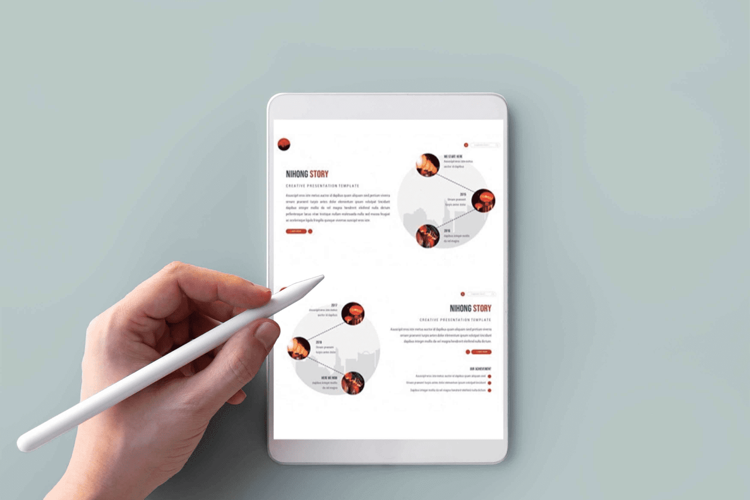 Tablet option of Nihong Powerpoint Template.