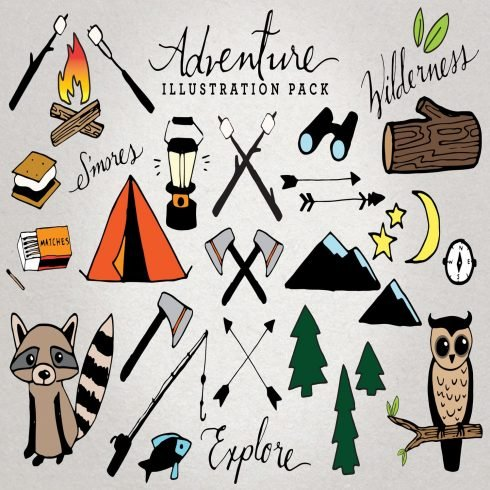 Adventure & Camping Illustration Set main cover.