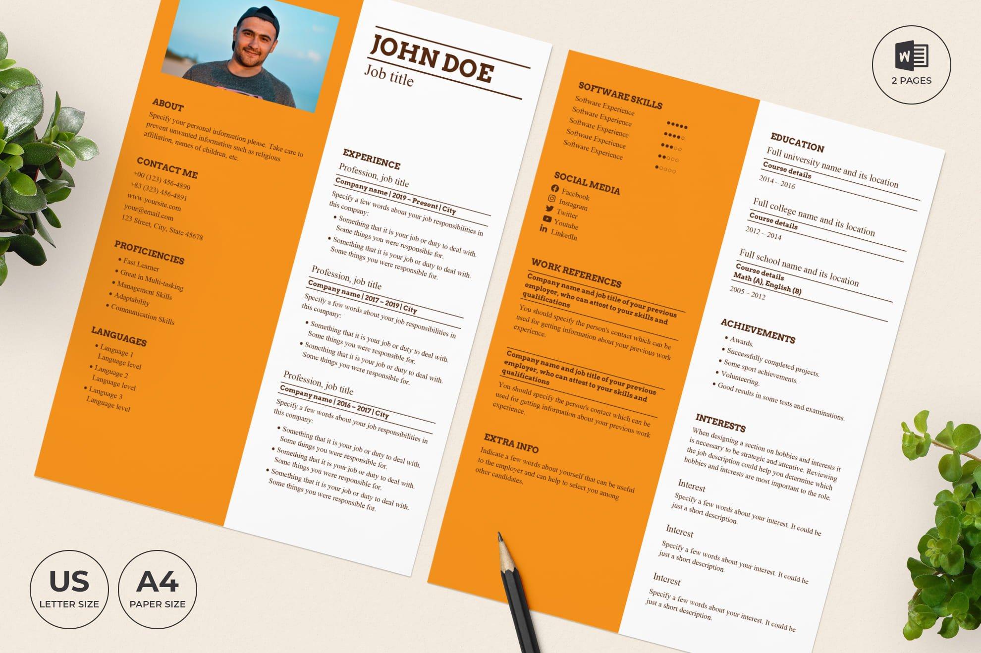 Bakery CV Resume Template.