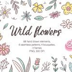 Wild Flowers, Watercolor Clipart, Hand Drawn Illustrations Example.