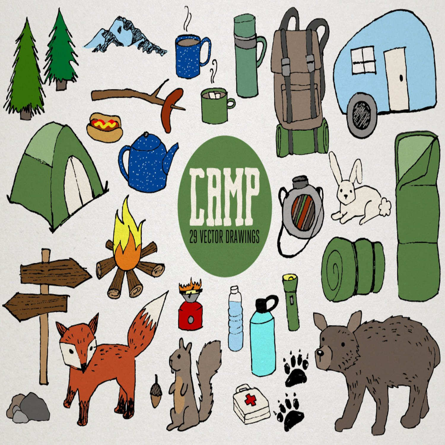 Camping Vector Illustrations main cover.