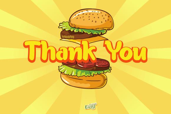 Thank you slide and a big burger.