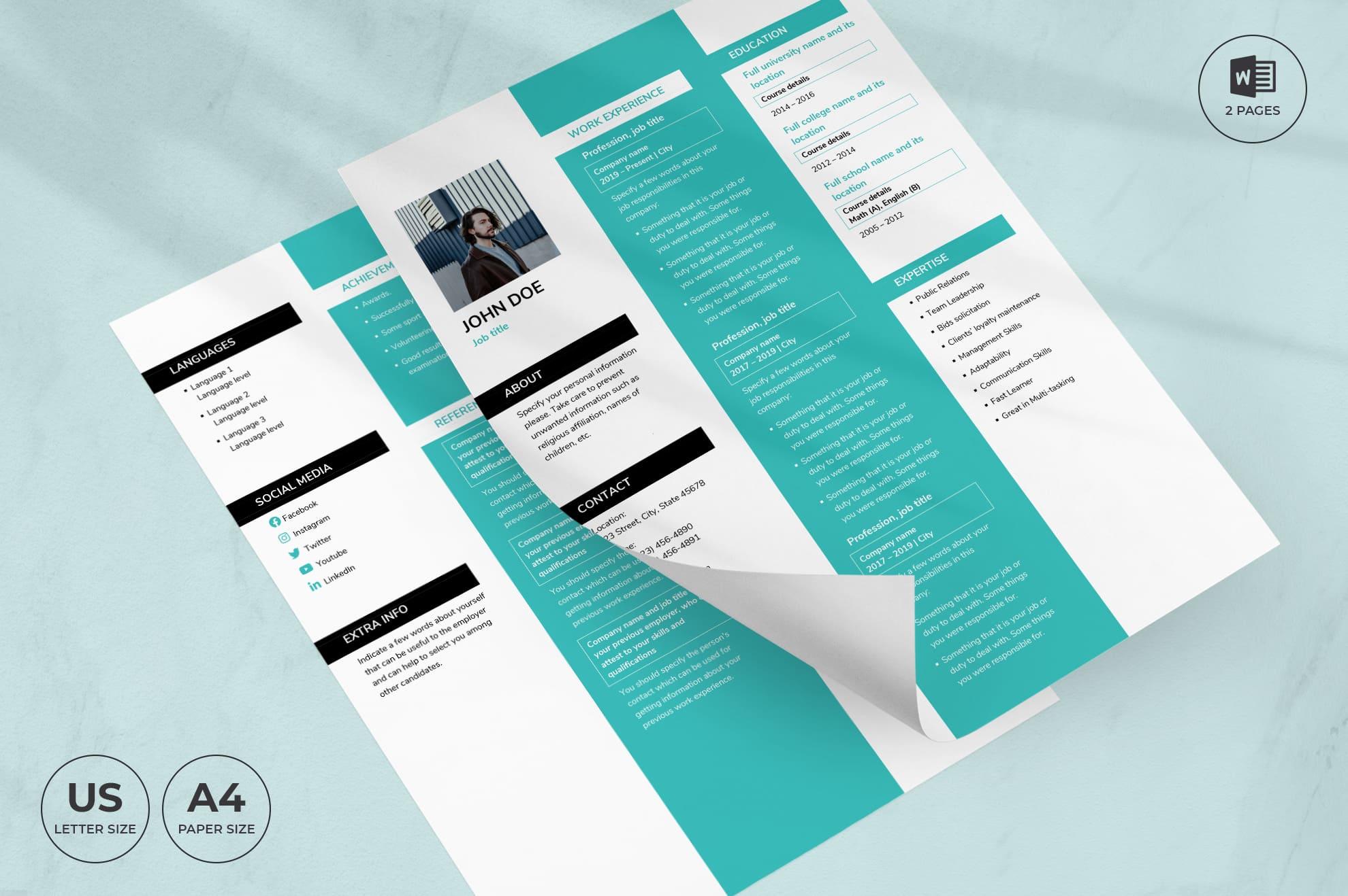 Creative Agency CV Resume Template.
