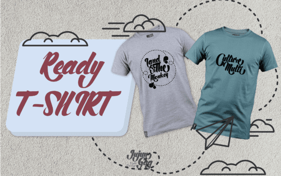 Two t-shirts in different colors and with simple illustrations.