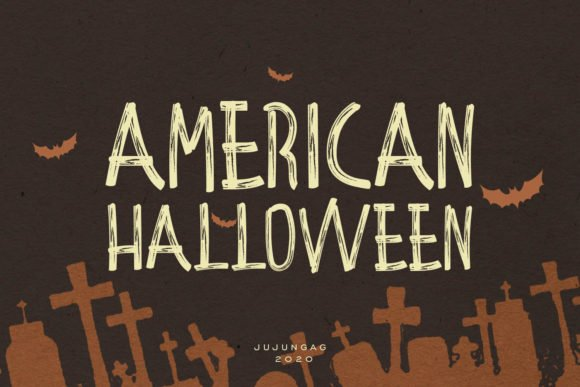Cool wood font with Halloween composition.