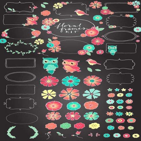 Chalkboard Floral Frames Kit main cover.
