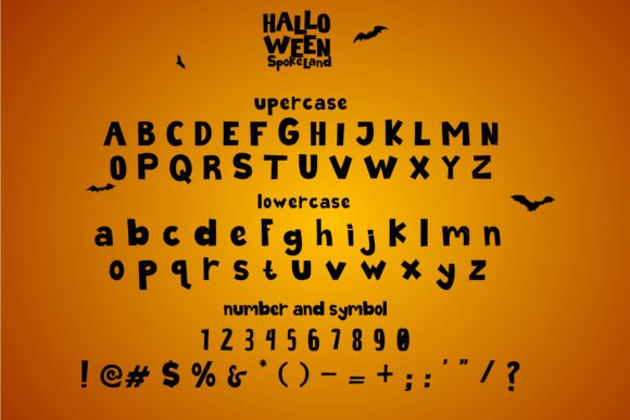 General view of Halloween font.