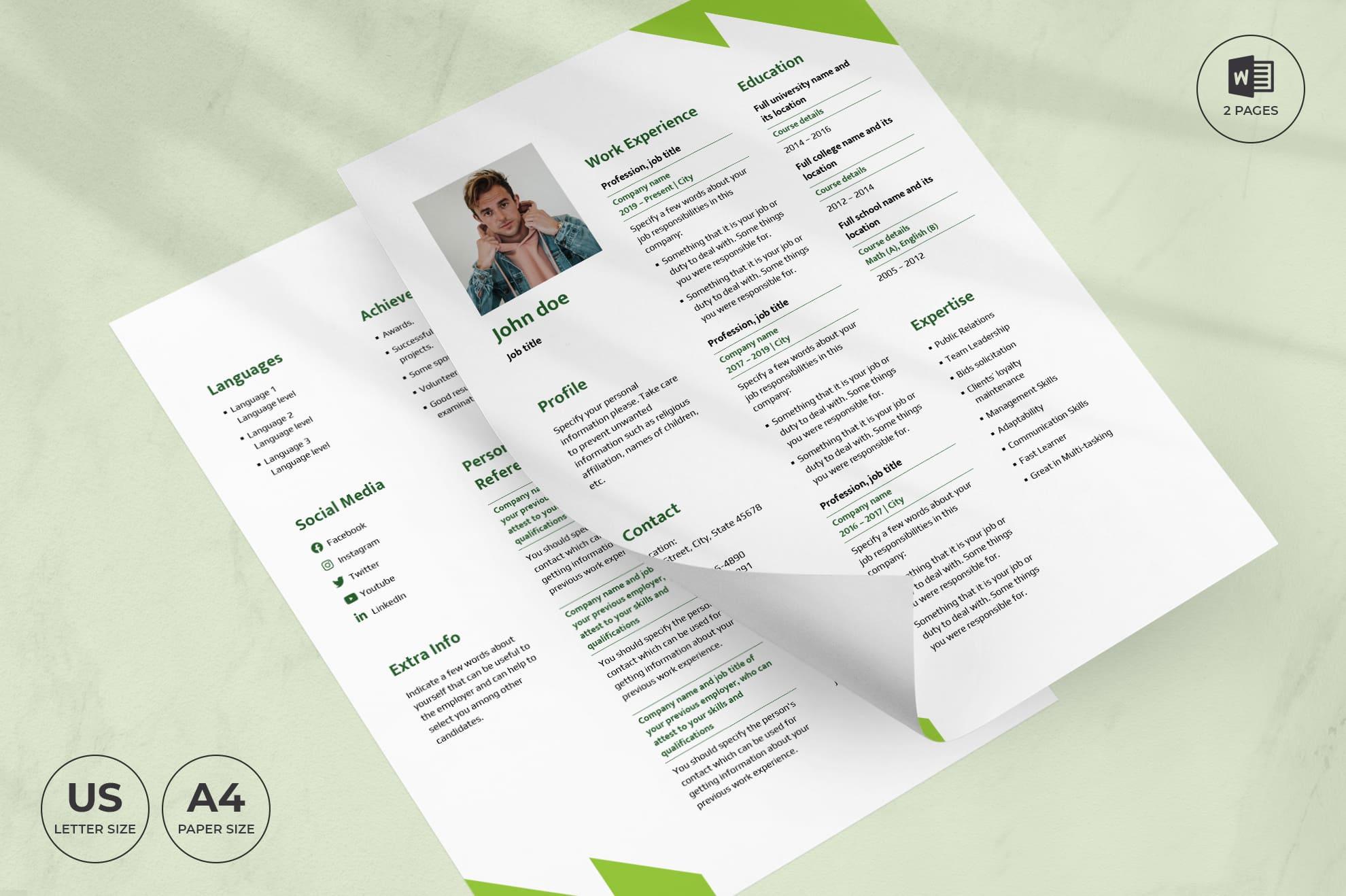 Hostel CV Resume Template.