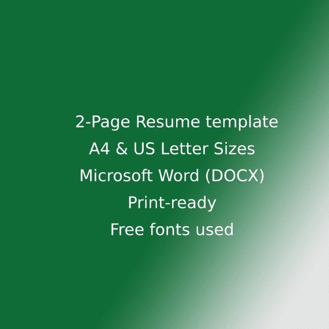 Hotel CV Resume Template cover image.