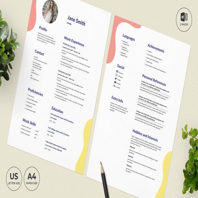 Ice Cream Shop CV Resume Template main cover.