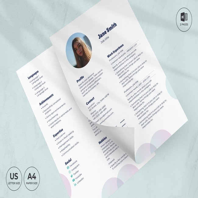 Laundry CV Resume Template main cover,