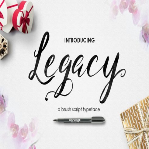 Legacy Brush font main cover.