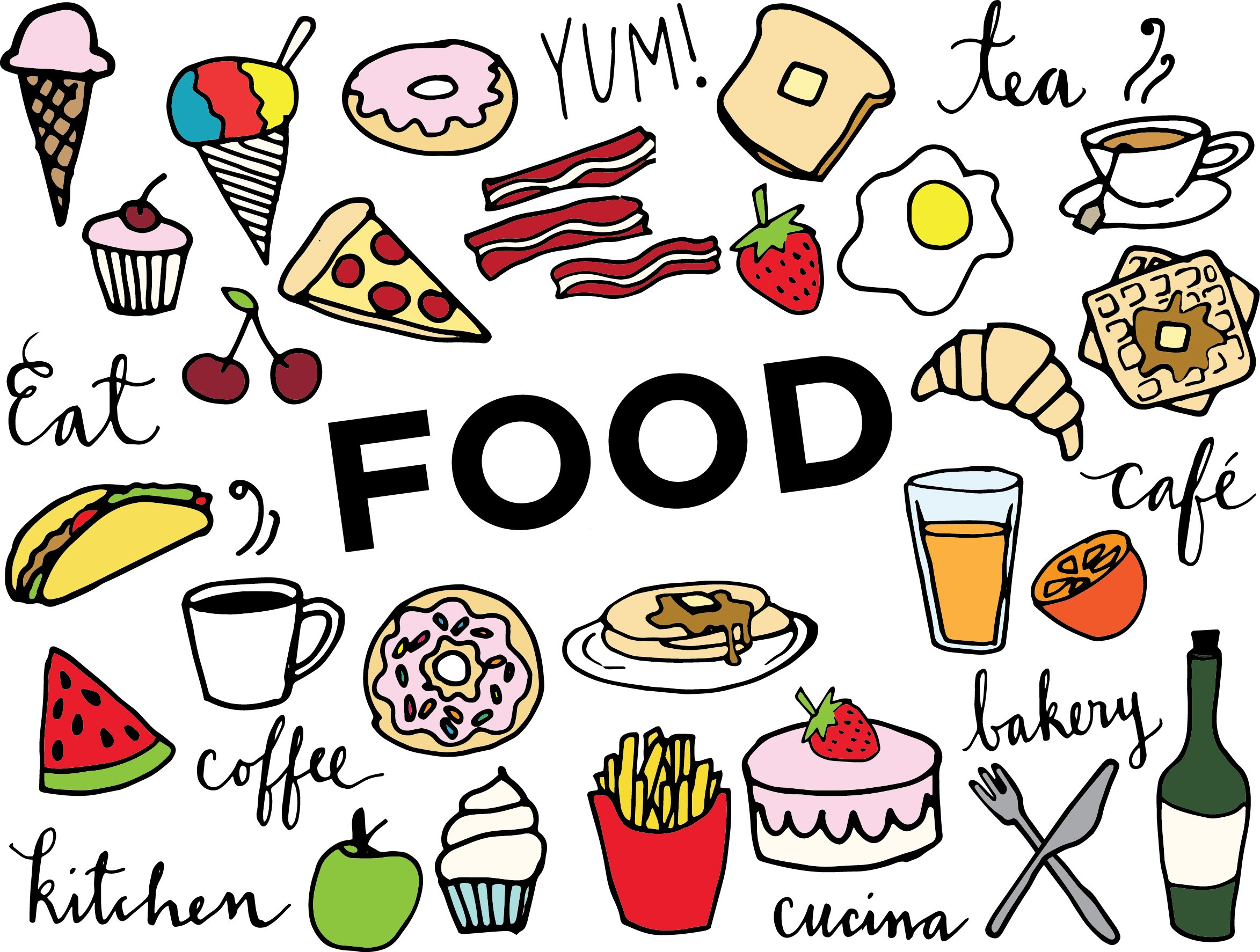 Abundance of food in colorful illustrations.