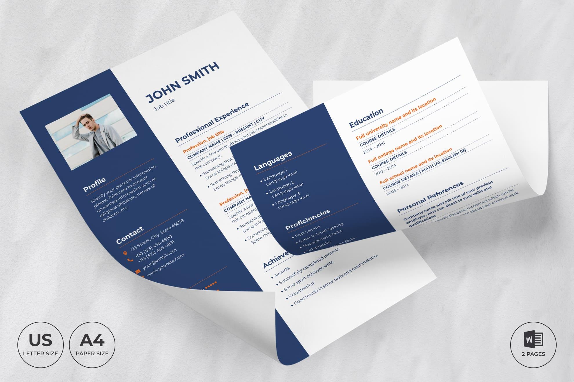 Marketing Agency CV Resume Template.