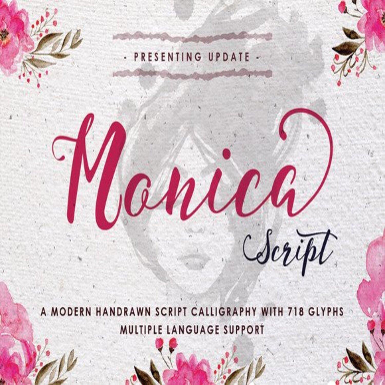 Monica Script font main cover.