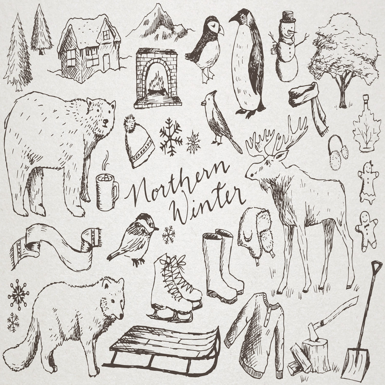 Snowy Northern Winter Illustrations main cover.