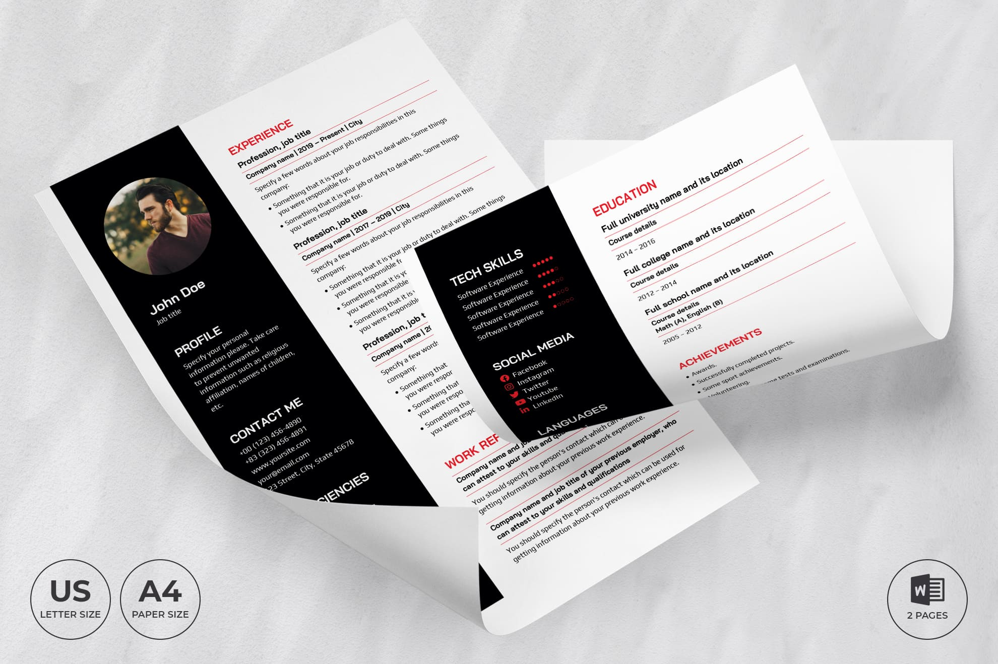 Personal Trainer CV Resume Template.
