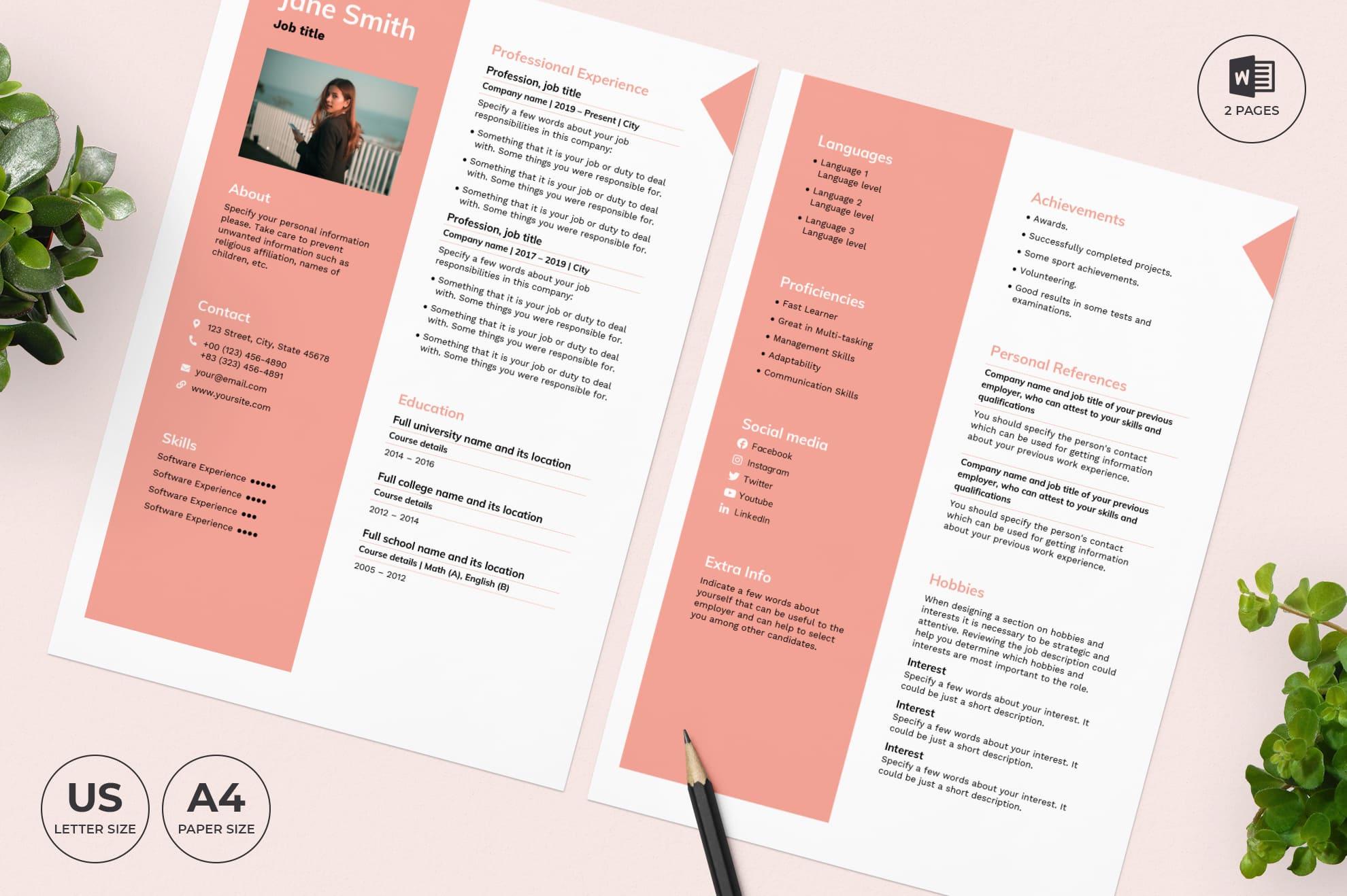 Pharmacy CV Resume Template.