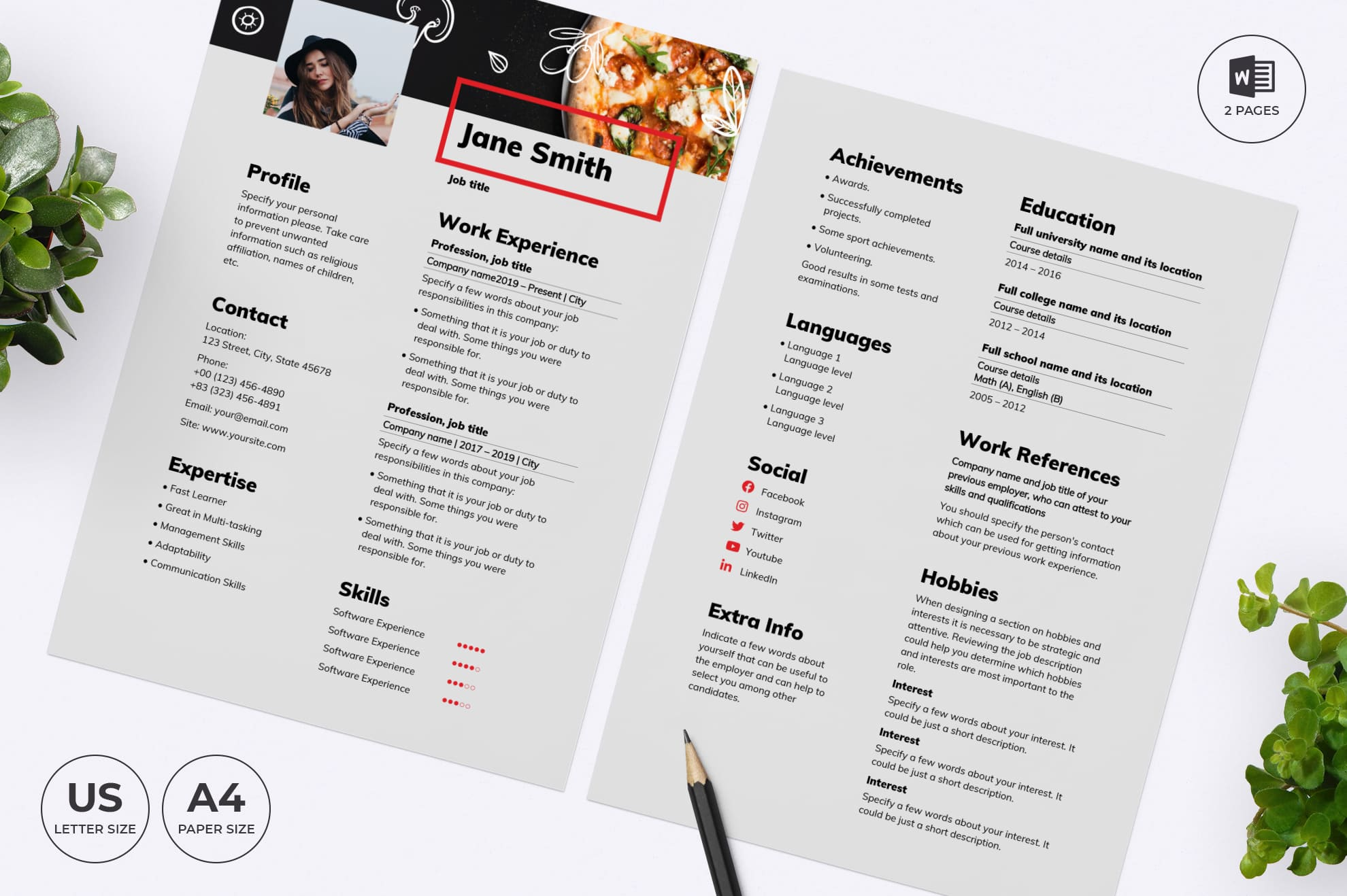 Pizza CV Resume Template.