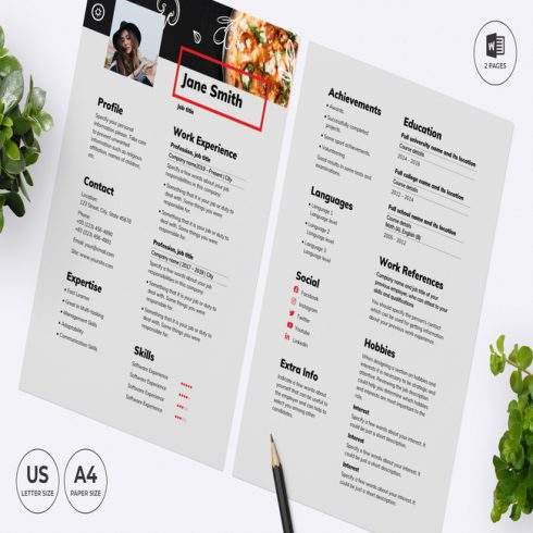 Pizza CV Resume Template main cover.