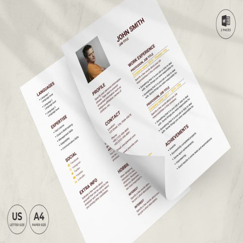 Pub CV Resume Template main cover.