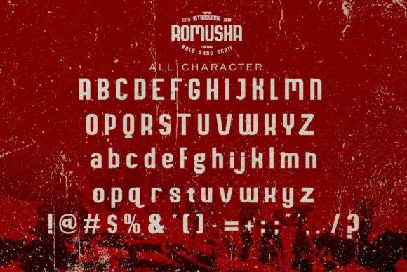 All characters of Romusha font.