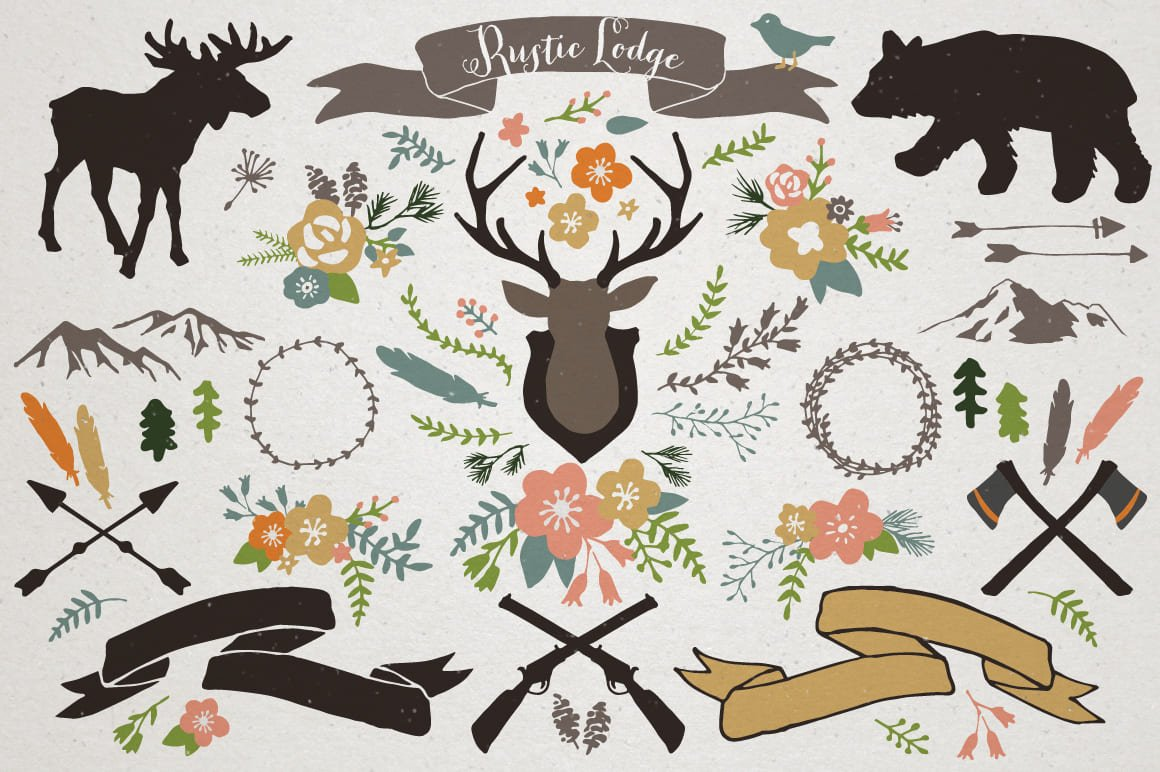 Colorful illustrations for describing hunter life.