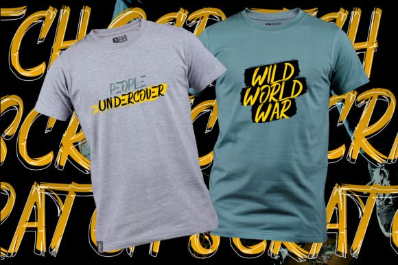 Two classic t-shirts with this vivid font.