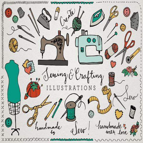 Sewing & Crafting Ilustrations Pack main cover.