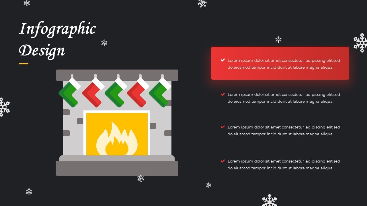 Heating fireplace with gift socks and text box.