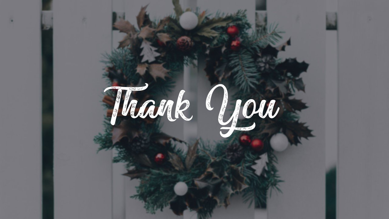 Thank you slide on the background of a festive wreath.