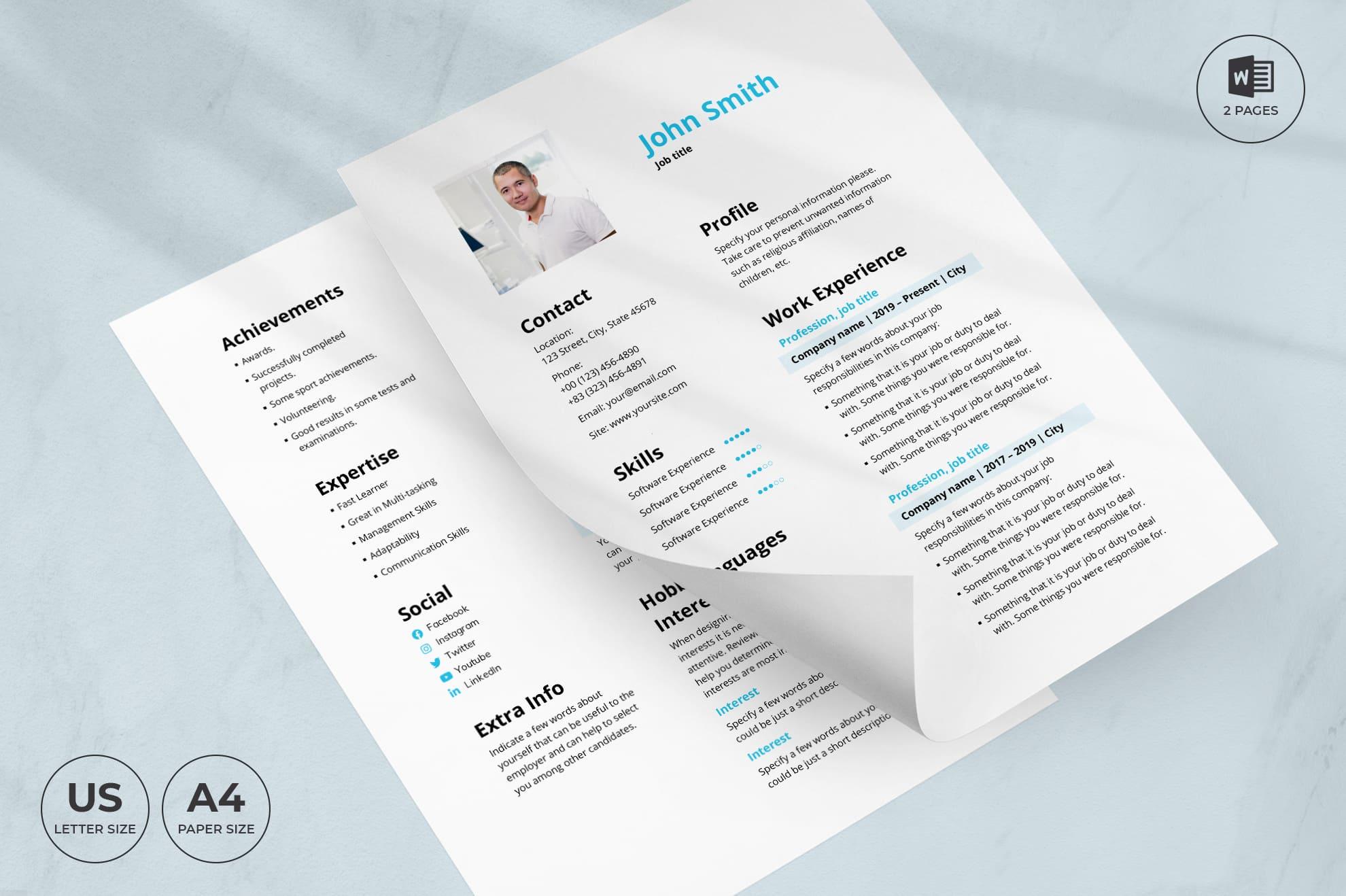 Staffing Agency CV Resume Template.