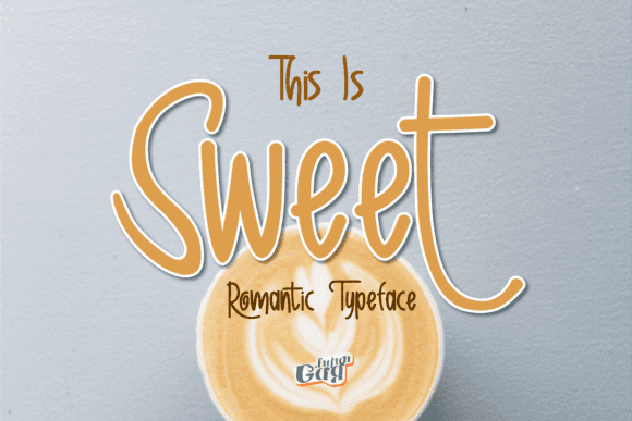 Sweet font with latte with foam and heart.