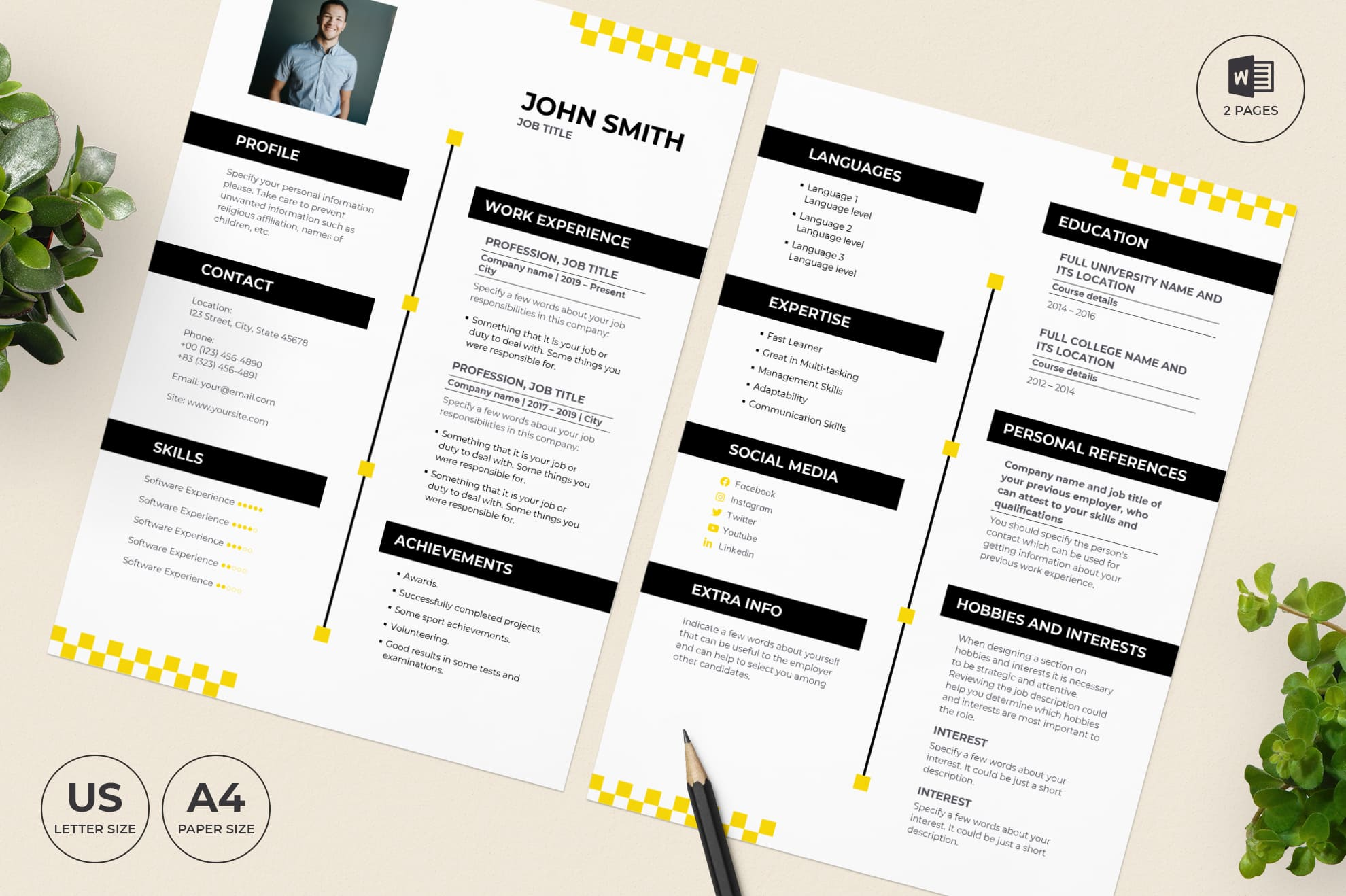 Taxi Service CV Resume Template.