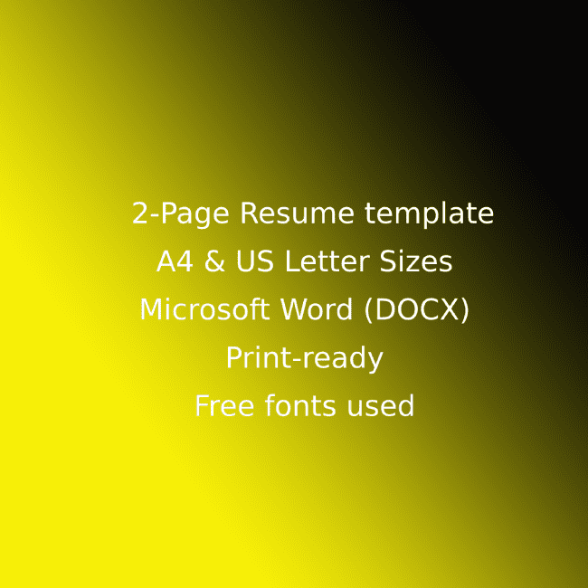 Taxi Service CV Resume Template cover image.