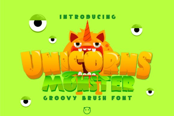 Bright green color with cartoon monster.