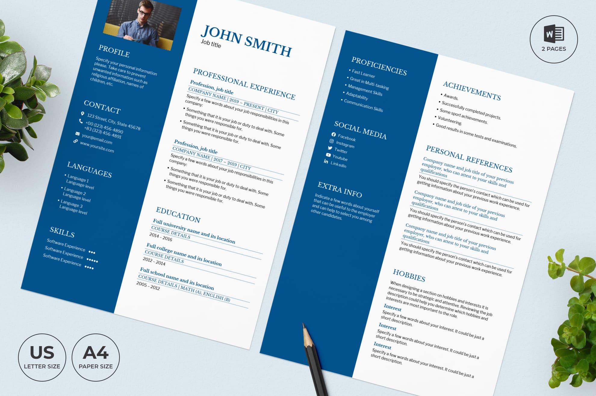Vacation Rental CV Resume Template.