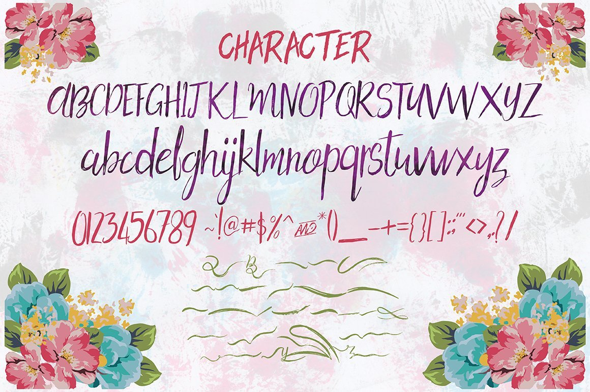 All characters of the Holy Mpuntain Brush Script.