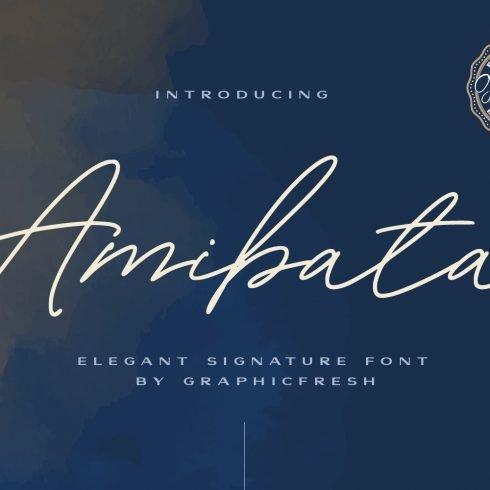 Amibata - Elegant Signature Font Example.
