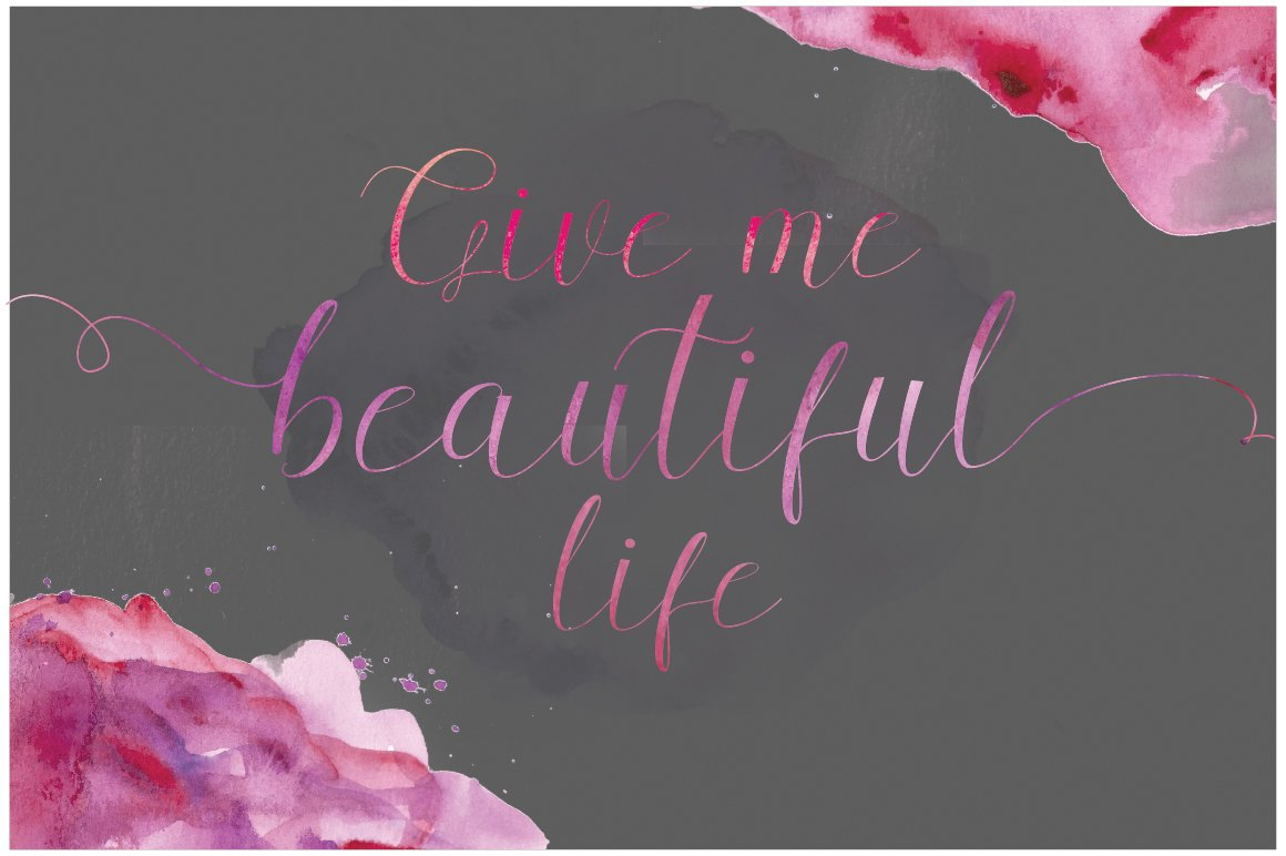 Romantic illustration with pink watercolor flowers.