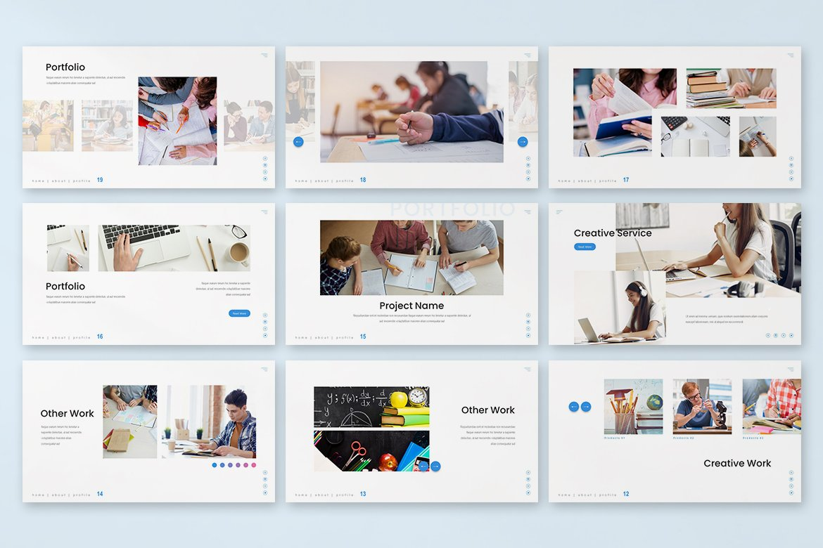 Here you can decorate of your presentation of visual elements from template collection.