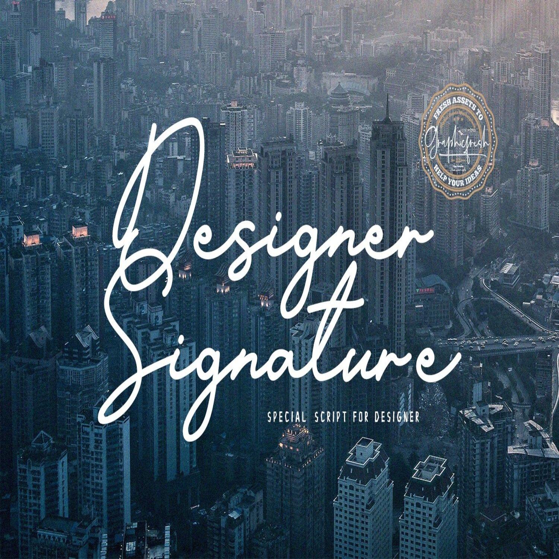 Designer Signature Font main cover.