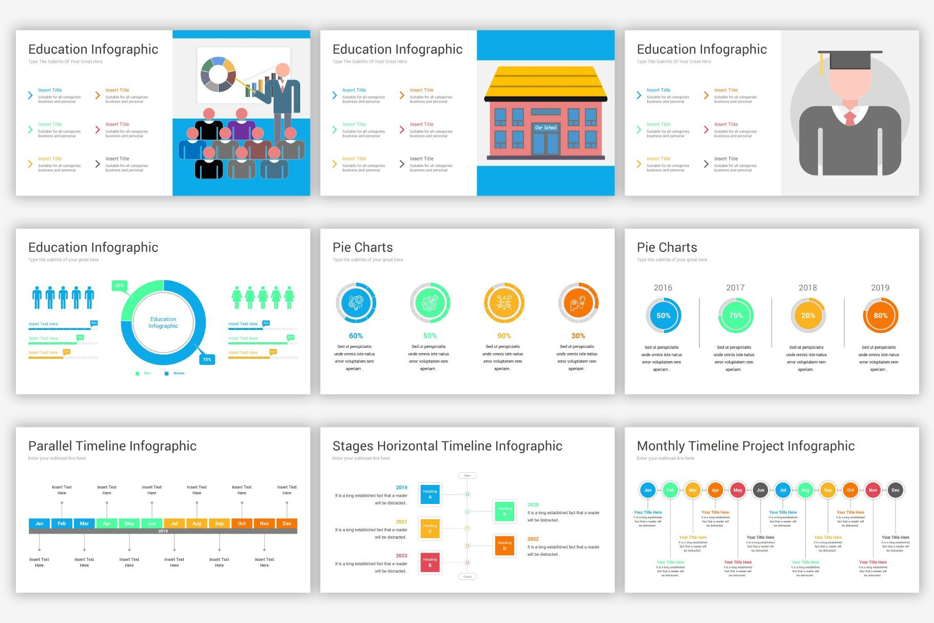 This template has a very large set of infographics that will save the big picture.