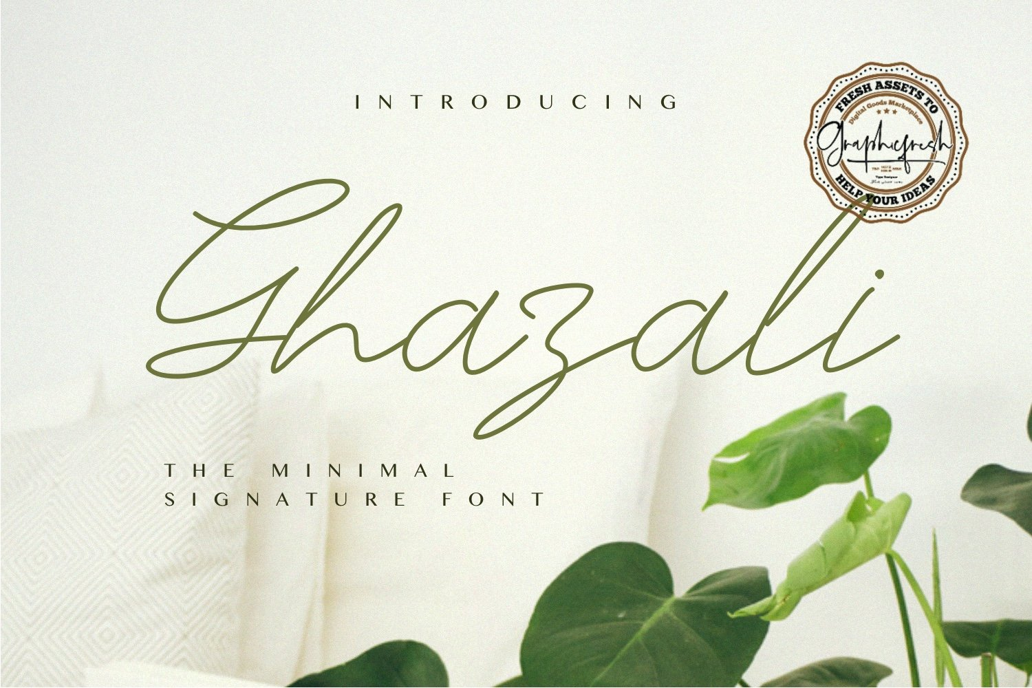 Delicate green font in eco illustration style.