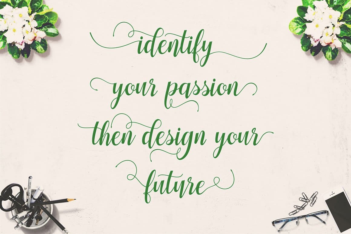 Eco green font with romantic notes.